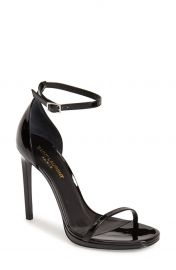 Saint Laurent Jane Ankle Strap Leather Sandal in Black at Nordstrom