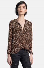 Saint Laurent Leopard Print Silk Blouse at Nordstrom