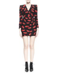 Saint Laurent Lips Long-Sleeve Crossover Dress at Neiman Marcus