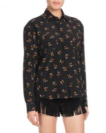 Saint Laurent Mickey Mouse Button-Front Long-Sleeve Silk Classic at Neiman Marcus