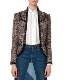 Saint Laurent Paisley Jacket with Stud Trim at Neiman Marcus