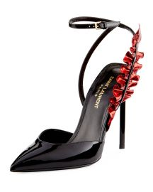 Saint Laurent Patent Metallic-Ruffle 110mm Pump   Neiman Marcus at Neiman Marcus