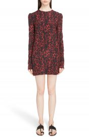 Saint Laurent Silk Cr  pe de Chine Leopard Print Shift Dress at Nordstrom
