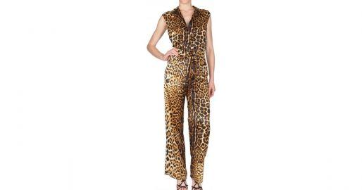 Saint Laurent Womens Leopard Silk Satin Jumpsuit at Luisaviaroma
