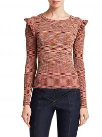 Salma Space Dye Ruffle Shoulder Knit Top at Saks Fifth Avenue