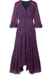 Saloni   Edith polka-dot flocked silk-blend chiffon midi dress at Net A Porter