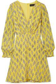 Saloni   Eve printed silk crepe de chine mini dress at Net A Porter