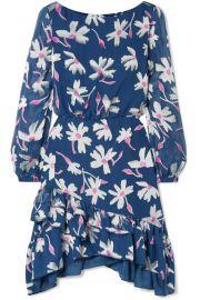 Saloni   Felicia ruffled fil coup   silk-blend chiffon mini dress at Net A Porter