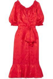 Saloni   Olivia wrap-effect silk-satin jacquard midi dress at Net A Porter