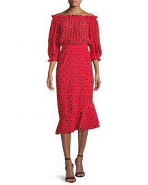 Saloni Grace Midi Floral Stripe-Print Dress   Neiman Marcus at Neiman Marcus