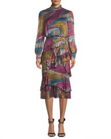 Saloni Isa Mock-Neck Floral-Print Silk Midi Dress at Neiman Marcus