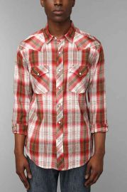 Salt Valley Ortega Dobby Plaid Western Shirt at Urban Outfitters