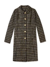 Salvador Perez Peter Pan Collar Coat in Black at Gilt