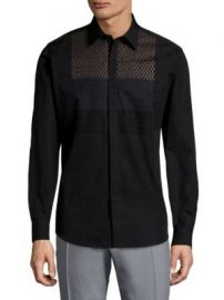Salvatore Ferragamo - Honeycomb Cotton Button-Down Shirt at Saks Fifth Avenue