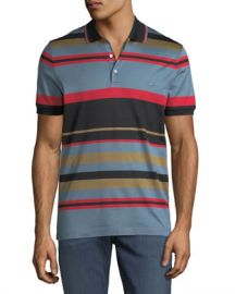 Salvatore Ferragamo Men  x27 s Cotton Striped Polo Shirt at Neiman Marcus