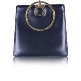 Salvatore Ferragamo Small Gancio Clutch With Gold Ring Handle at Style Tribute