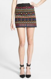 Sam Edelman Beaded Geo Print Miniskirt at Nordstrom