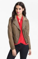Sam Edelman Cutaway Back Studded Faux Leather Jacket at Nordstrom