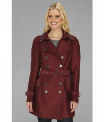 Sam Edelman DB Solid Trench w Studded Collar Wine at 6pm