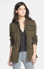 Sanctuary New Civilian Faux Leather Trim Military Jacket at Nordstrom