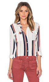 Sanctuary Silk Tailored Boyfriend Shirt in Marquis Stripe from Revolve com at Revolve