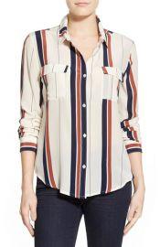 Sanctuary Stripe Silk Boyfriend Shirt at Nordstrom