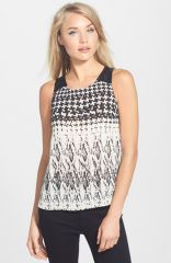 Sanctuary and39Flashbackand39 Faux Leather Yoke Print Shell at Nordstrom