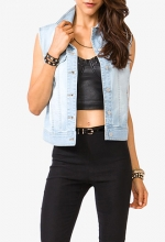 Sandblasted Denim Vest from Forever 21 at Forever 21