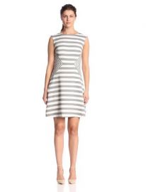 Sandra Darren Womenand39s Cap-Sleeve Striped Fit-and-Flared Dress at Amazon