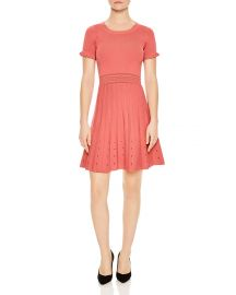 Sandro Etor Eyelet-Detail Pleated Knit Dress at Bloomingdales