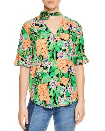 Sandro Reda Floral-Print Silk Choker Top   at Bloomingdales