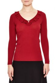 Sandro Ruffle Trim Sweater red at Nordstrom Rack