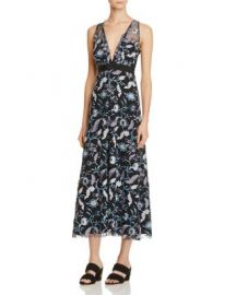 Sandro Blueshine Embroidered Midi Dress - 100  Exclusive at Bloomingdales