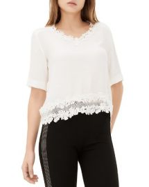 Sandro Eloire Lace Trimmed Top at Bloomingdales