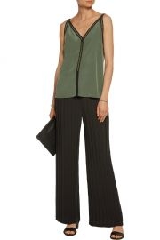 Sandro Empire open knit cotton trimmed silk top at The Outnet