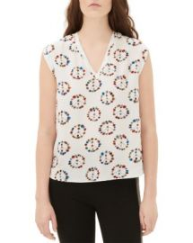 Sandro Ezel Printed Silk Top at Bloomingdales