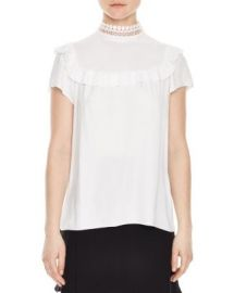 Sandro Ombline Lace-Collar Top at Bloomingdales