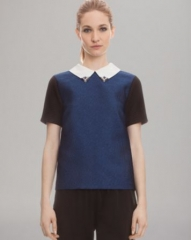 Sandro Top - Color Block Embellished Collar at Bloomingdales