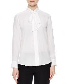 Sandro aline Tie-Neck Silk Shirt at Bloomingdales