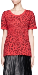 Sandro red leopard print tee at Lane Crawford