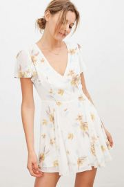 Sarah Flutter-Sleeve Chiffon Mini Dress at Urban Outfitters