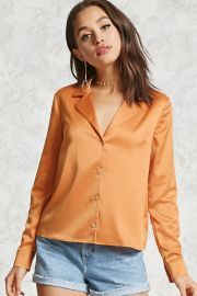 Satin Button-Down Shirt   LOVE21 - 2000305543 at Forever 21