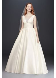Satin Cummerbund Ball Gown Wedding Dress at Davids Bridal
