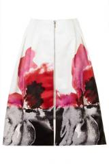 Satin Placement Floral Skirt at Topshop