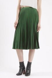 Satin Pleated Midi Skirt at Topshop