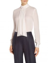 Satin Silk Georgette Neck Tie Blouse by St John Collection at St John