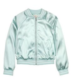 Satin bomber jacket in mint green at H&M