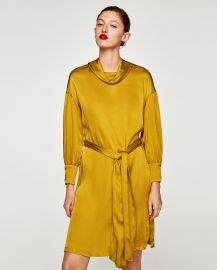 Satin dress with belt at Zara