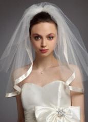 Satin veil with ribbon trim at David's Bridal