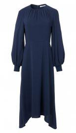 Savanna Crepe Shirred Neck Midi Dress at Tibi